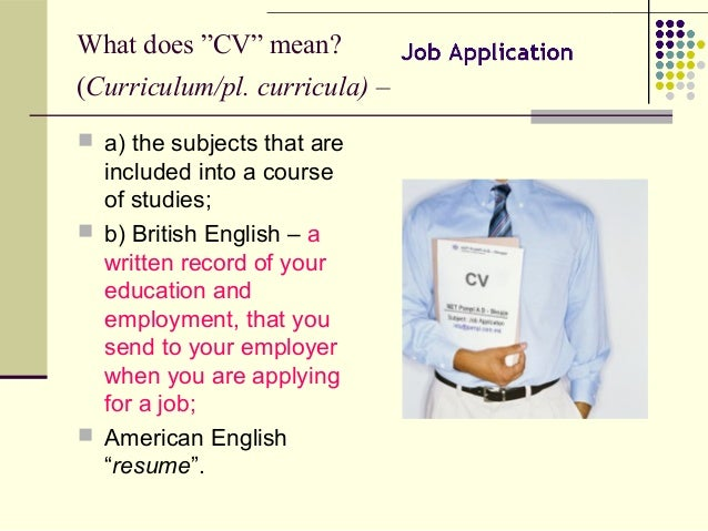 What ...  What Does Cv Stand For Resume