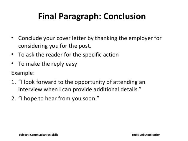 Conclusion Of Cover Letter Torte