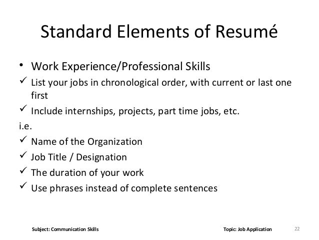 experience and skills for job application