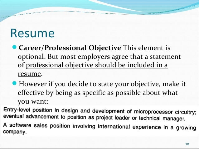 objective for applying a job