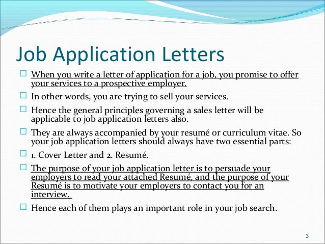 Job Application Letter How To Write A Cover Letter For A Job