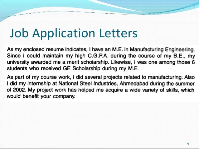 Job Application Letters 9; 9.  What Is A Letter Of Application