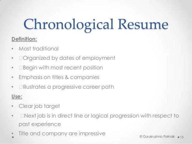 Chronological Resume Definition: .