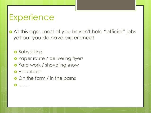 apply for a babysitting job