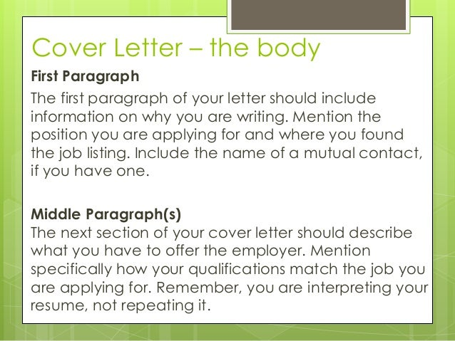 Cover Letter Body Paragraph Examples