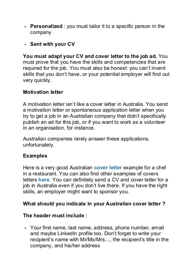 Australian Cover Letters. How To Write A Cover Letter That Gets ...