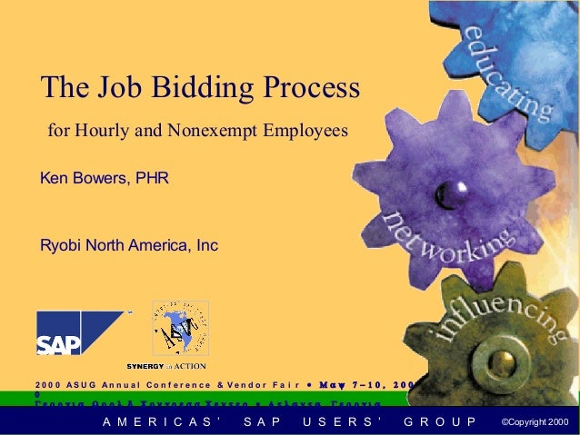 The Job Bidding Process   for Hourly and Nonexempt Employees Ken Bowers, PHR Ryobi North America, Inc2 0 0 0 AS U G An n u...