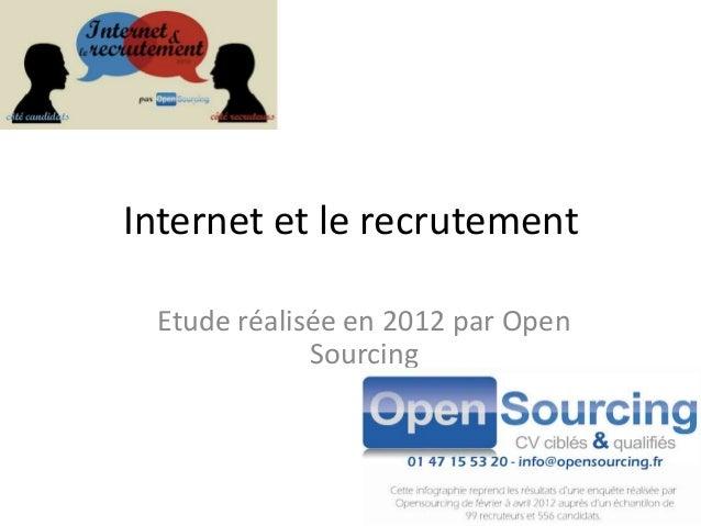 Internet et le recrutement Etude réalisée en 2012 par Open             Sourcing