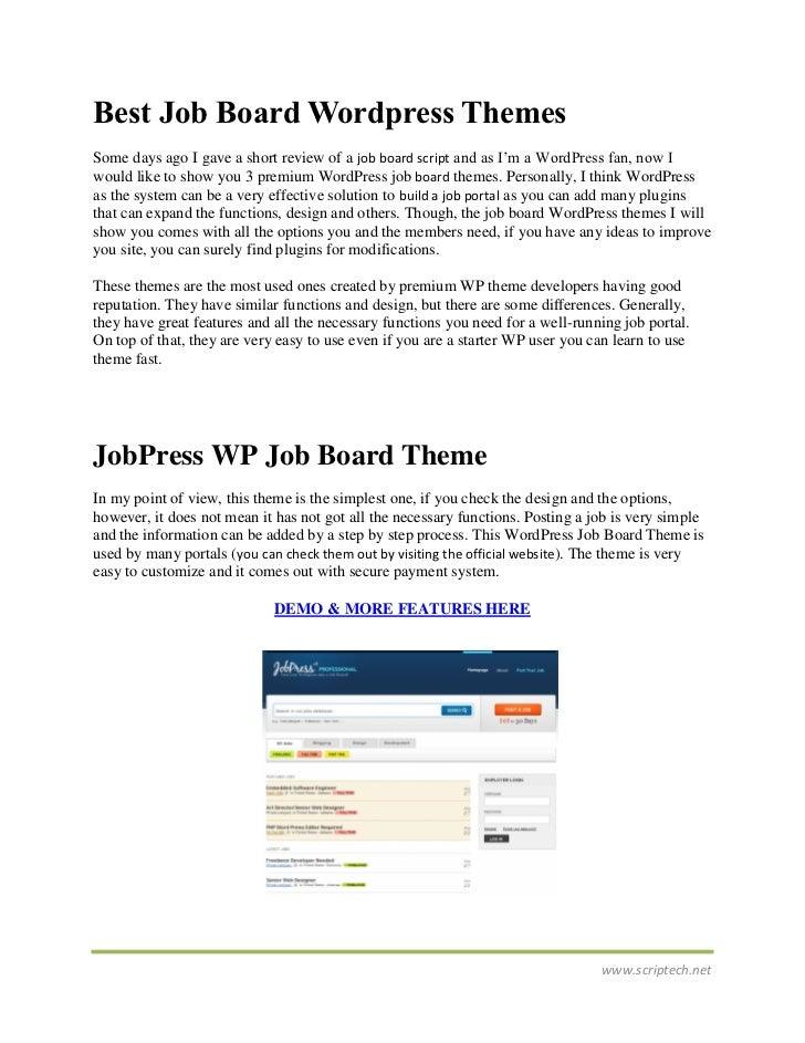 Best Job Board Wordpress ThemesSome days ago I gave a short review of a job board script and as I'm a WordPress fan, now I...