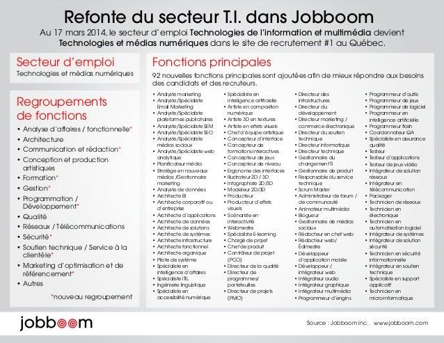 Refonte du secteur T.I. dans Jobboom Au 17 mars 2014, le secteur d'emploi Technologies de l'information et multimédia devi...