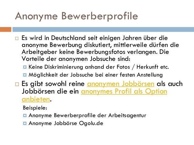 anonyme bewerberprofile - Anonymisierte Bewerbung