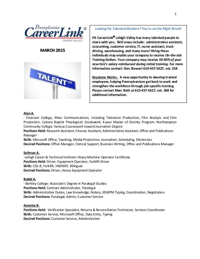 Pa Careerlink Talent Bank