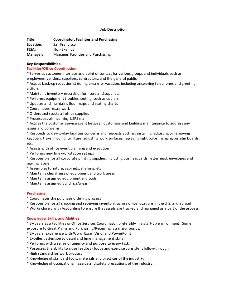 facilities coordinator descprition
