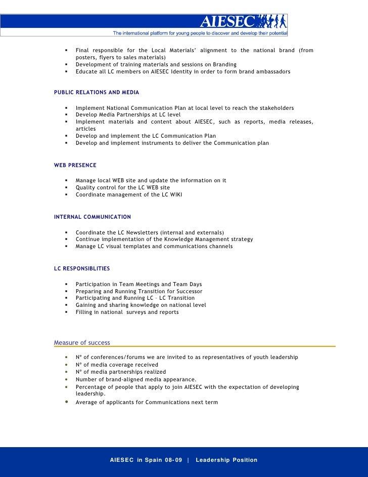 Job Description VP Comm – Public Relations Job Description