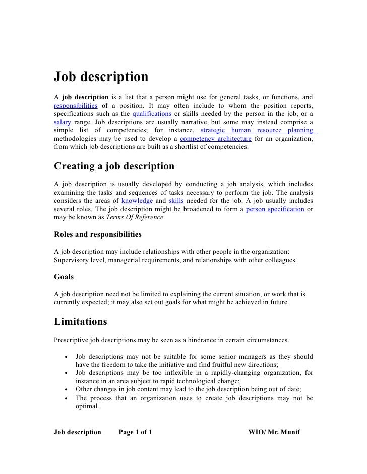 Job Descriptiona Job Description Is A List That A Person Might Use For General Tasks