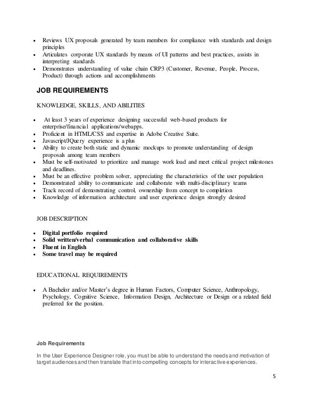 Job description – Ux Designer Job Description