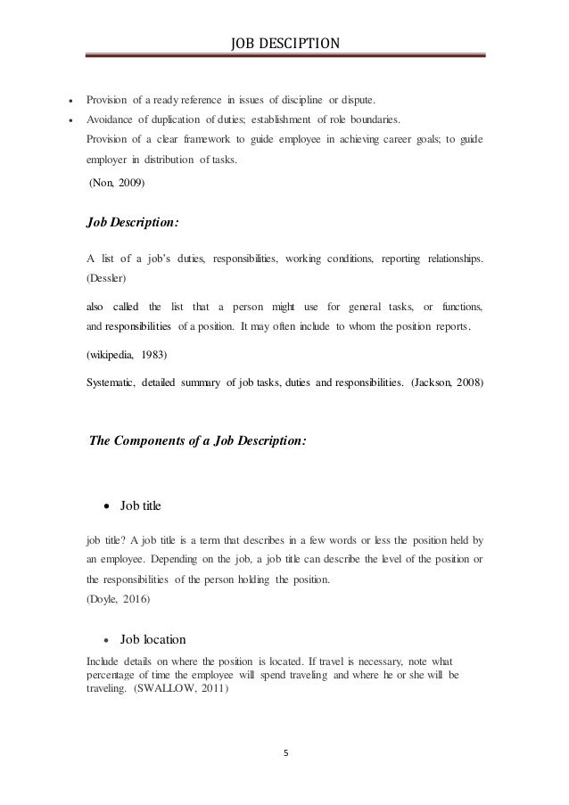Job description-Human Resource Management