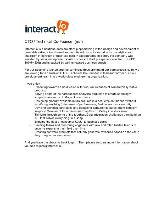 Interact.Io - Job Description Cto / Technical Cofounder
