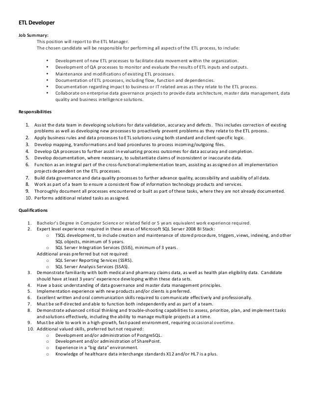 ETL Developer Job Summary: This Position ...