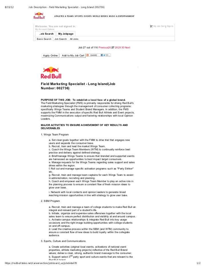 Job description field marketing specialist long island 002736 – Marketing Specialist Job Description
