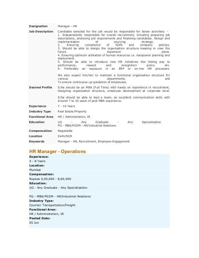 Designation  Manager - HR  Job Description  Candidate selected for the job would be responsible for below activities: 1. I...