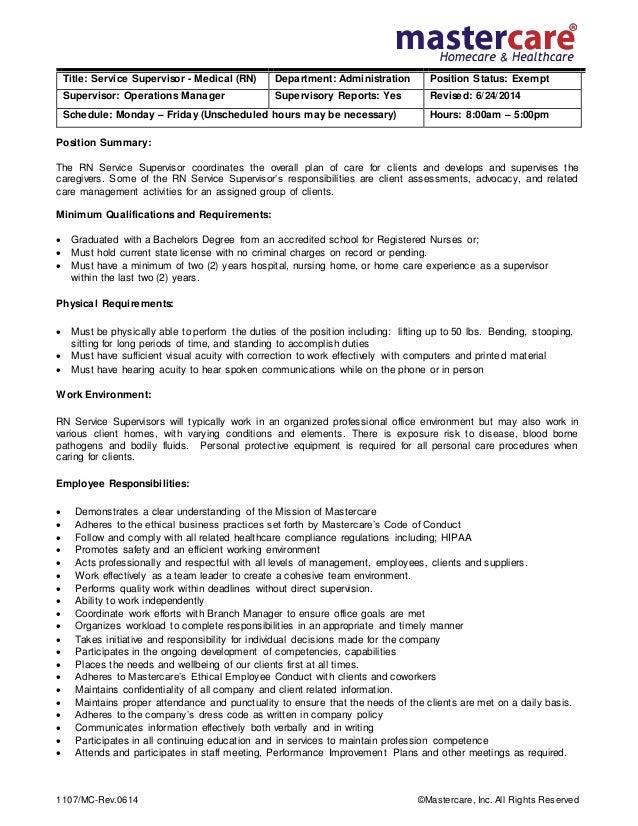 Superb Job Description Rn Supervisor. 1107/MC Rev.0614 ©Mastercare, Inc. All  Rights Reserved Position ...