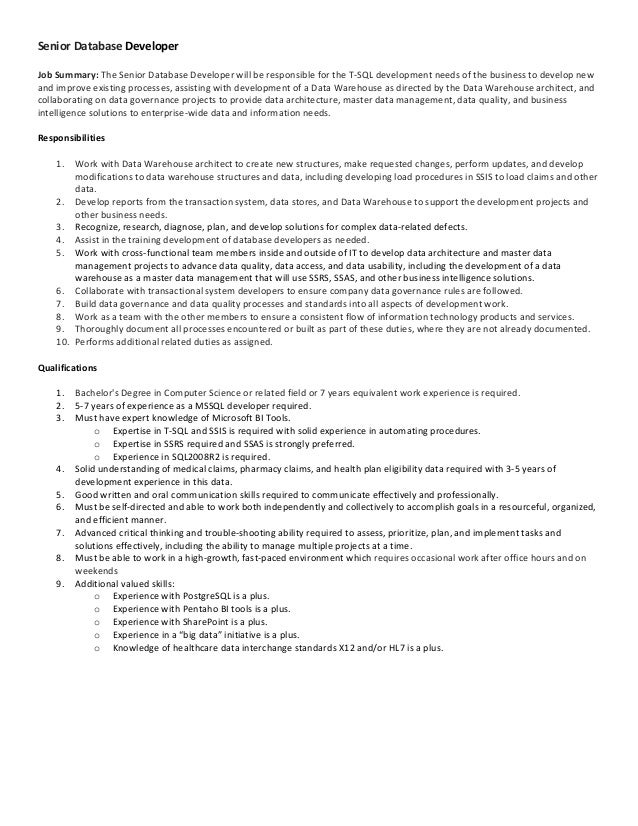 Senior Programmer Job Description  Resume Template Sample