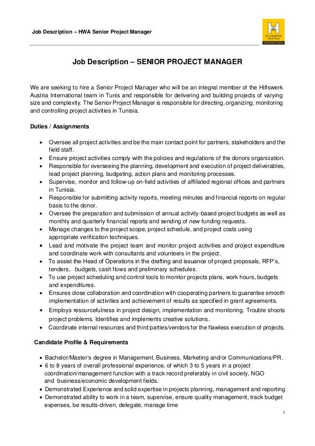 Job Description - Senior Project Manager Hwa Tunisia