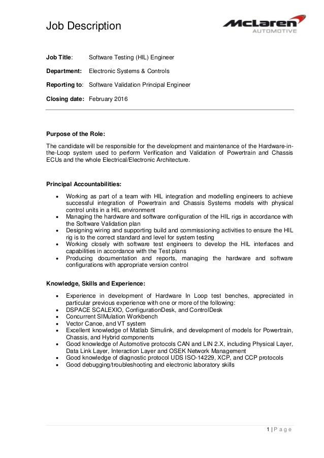 job description 1 p a g e job title software testing hil engineer department