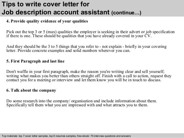 Job description account assistant cover letter 4 tips to write cover letter for job description account assistant spiritdancerdesigns Gallery