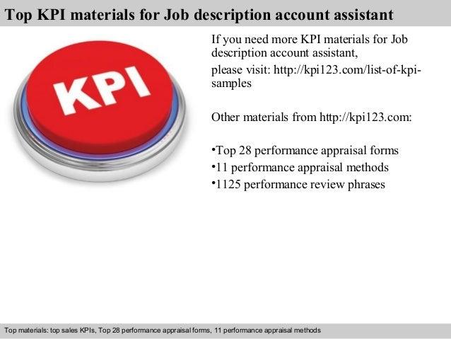 Job description account assistant kpi