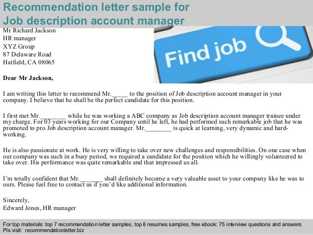 Job Description Account Manager Recommendation Letter