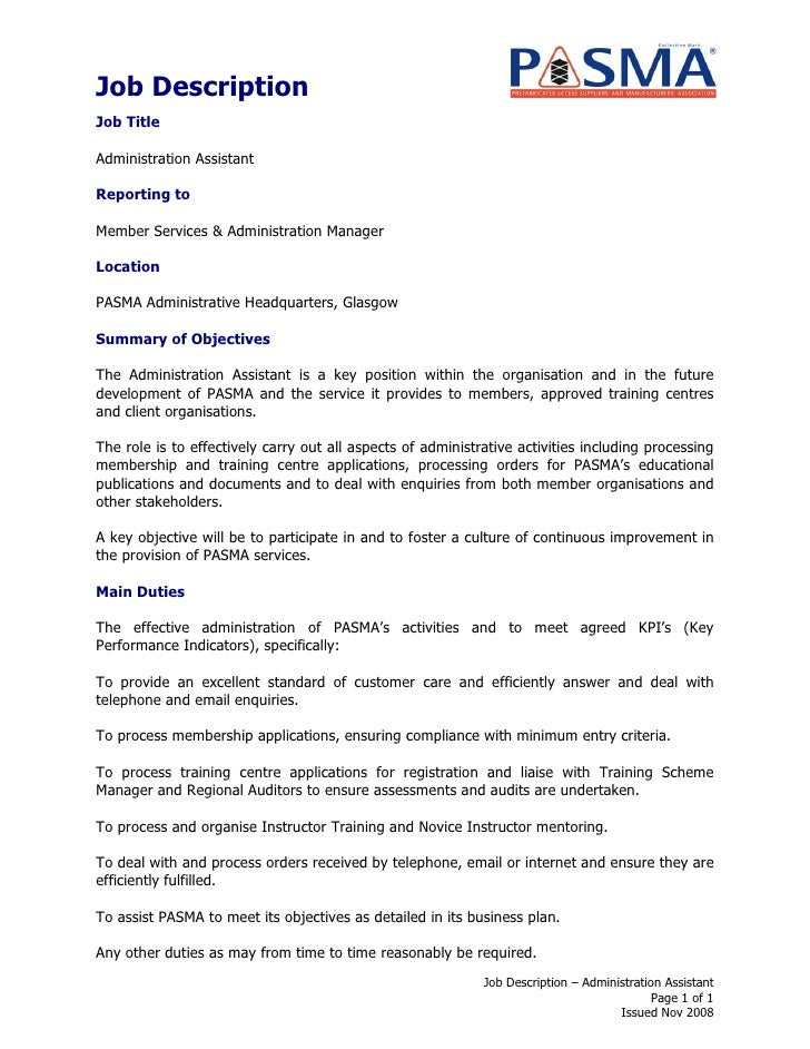 Job description administration assistant - Office manager assistant job description ...