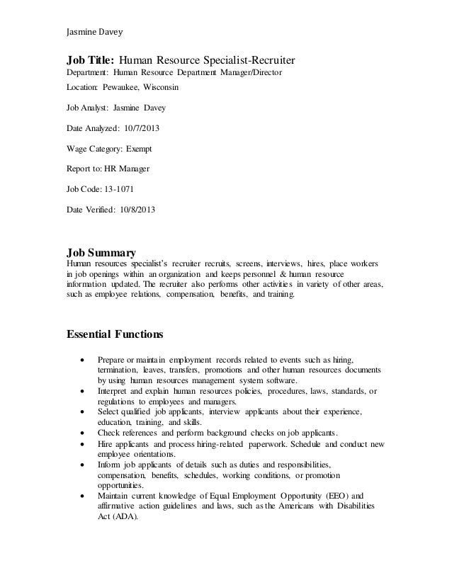 hr recruiter job description - Roho.4senses.co