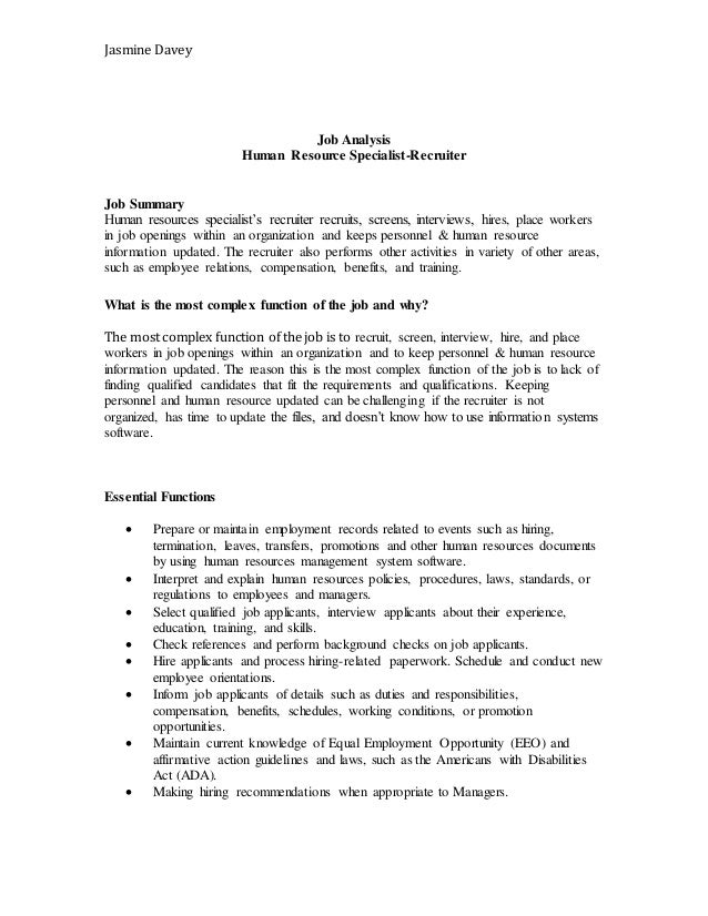 Job description and job analysis – Human Resources Job Description