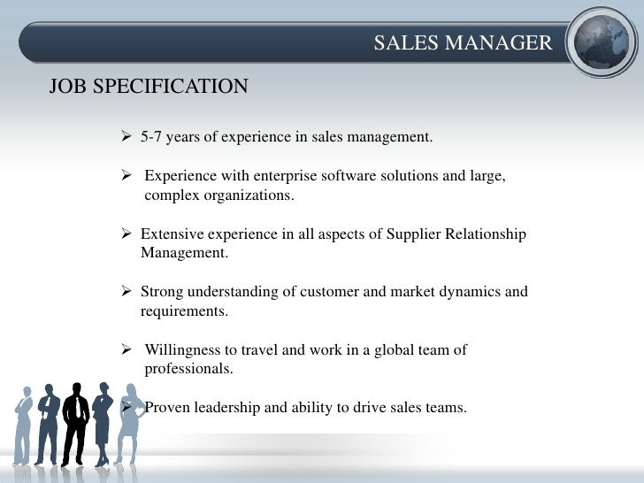 sales managerjob specification - Software Sales Manager Job Description