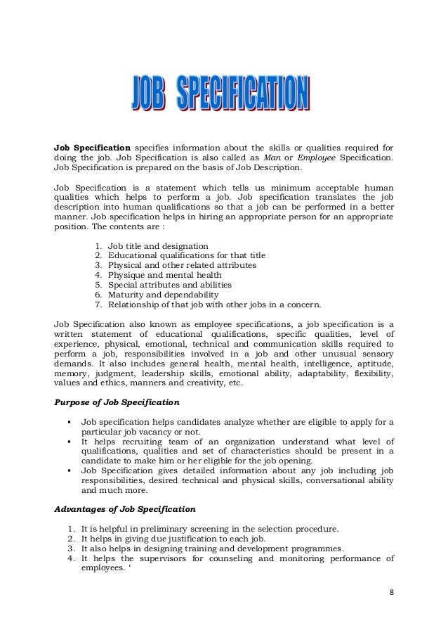 Job Specification Specifies Information ...  Job Qualifications Sample