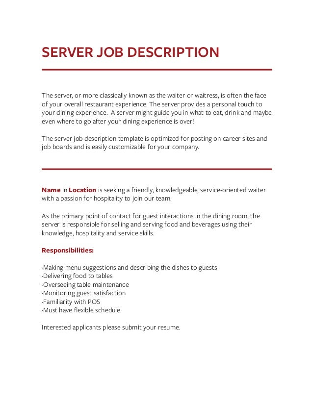 Outstanding Dining Room Server Job Description Gallery  D House
