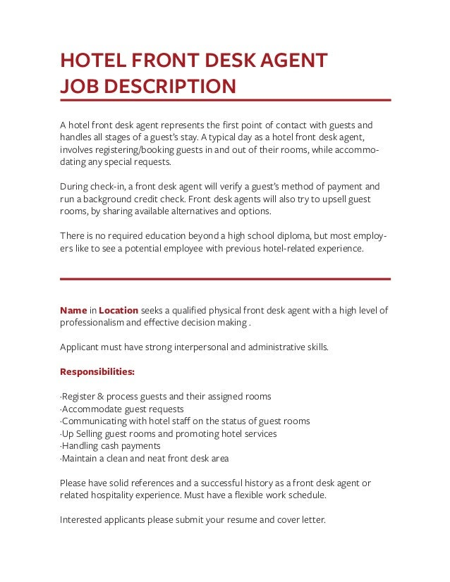 front desk agent job description resume