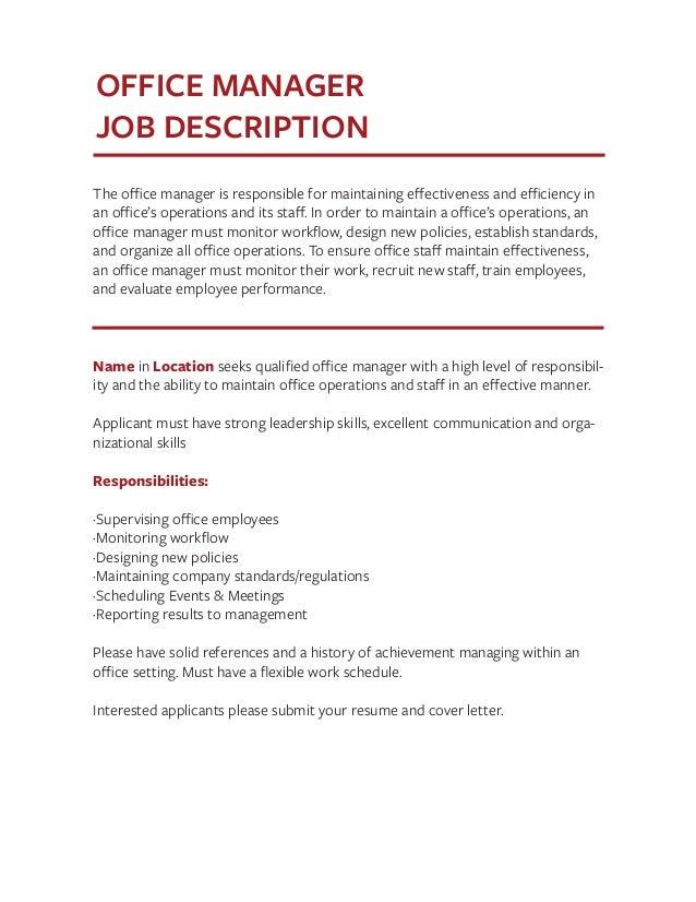 office manager job description templates
