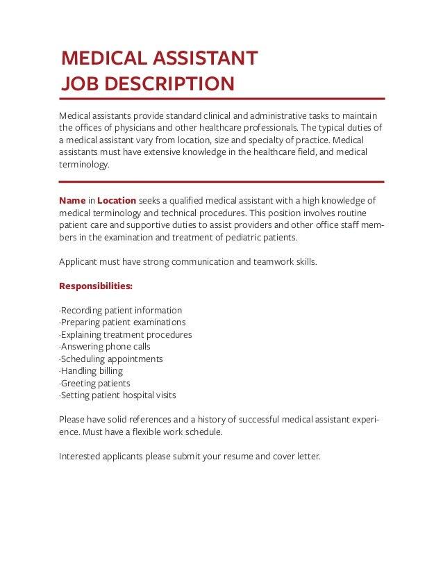 professional medical assistant job description