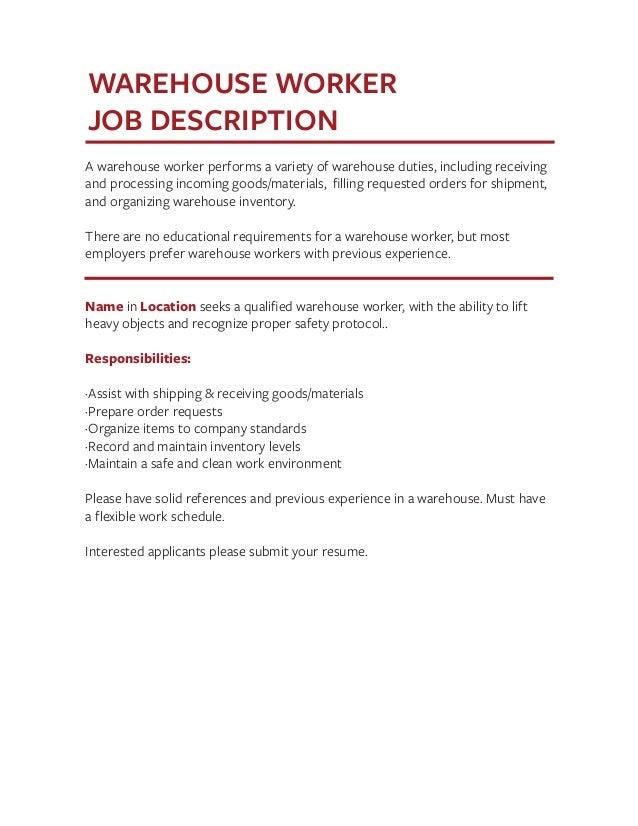 Amazing Warehouse Worker Job Description