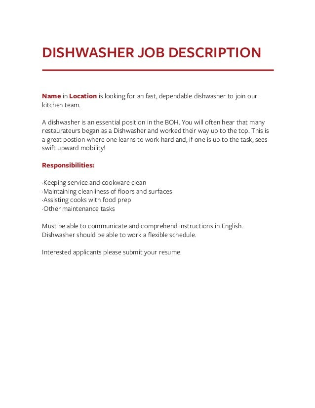 resume church volunteer java 10 years experience resume – Dishwasher Job Description