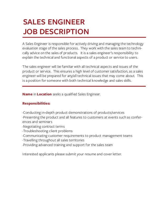 Job Description Templates The Definitive Guide – Sales Engineer Job Description