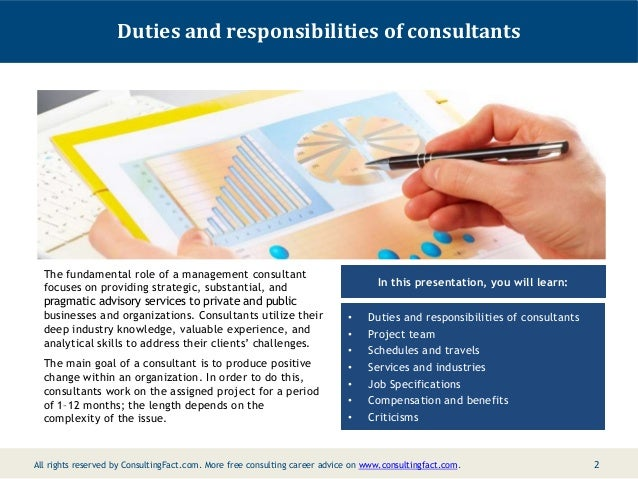 Job Description For A Management Consultant