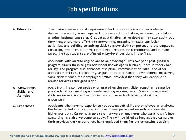 Job Specifications ...