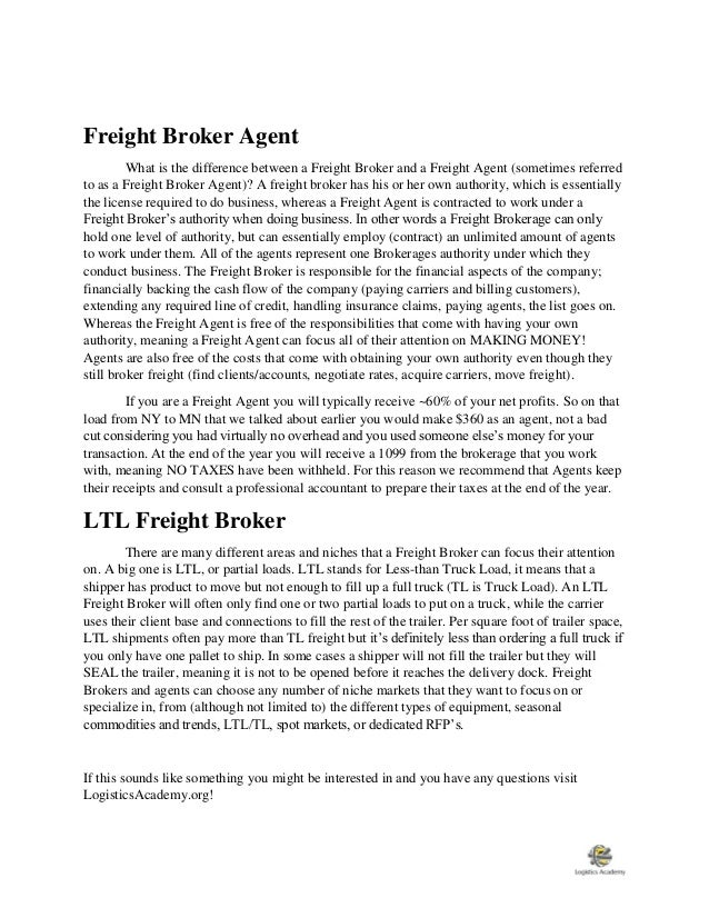 Job Description For Freight Brokers And Freight Agents  Logisticsaca