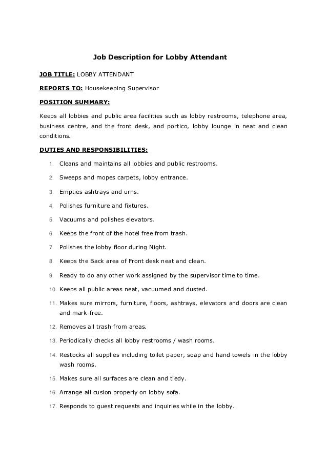 job description for lobby attendant job title lobby attendant reports to housekeeping supervisor position - Housekeeping Responsibilities