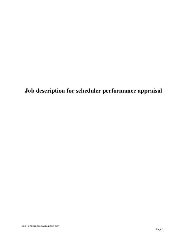Job Description For Scheduler Performance Appraisal Job Performance  Evaluation Form Page 1 ...