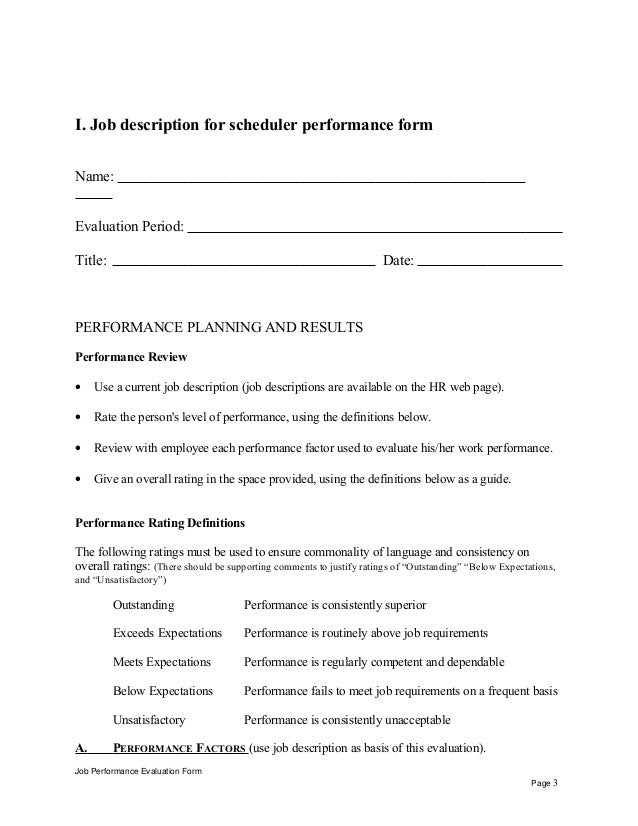 Job Description For Scheduler Performance Appraisal